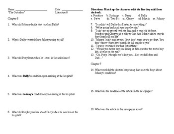 The Outsiders Chapter 6-12 Questions and Quotes Answer Key included