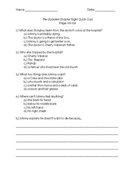 The Outsiders Chapter 8 Quick Quiz Pages 119 - 124