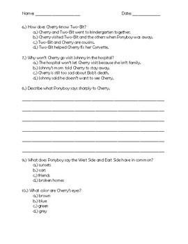 The Outsiders Chapter 8 Quick Quiz Pages 124 - 130