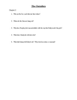 The Outsiders - Chapter Questions