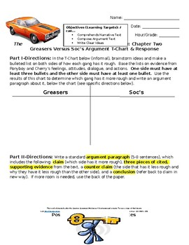 The Outsiders-Chapter Two Argument Chart and Paragraph