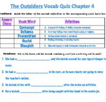 The Outsiders Chapter Vocabulary Quizzes