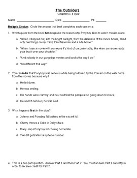 The Outsiders - Chapters 1-4 Quiz