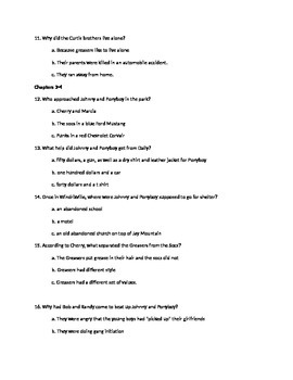 The Outsiders Chapters 1-4 Quiz (Vocab in Context/Reading Comprehension)