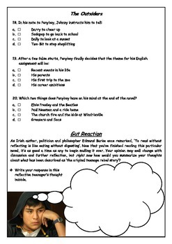 """WHAT A BEAUTY! """"The Outsiders"""" quiz - Chapters 11 & 12"""