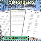 The Outsiders Chapters 7, 8, 9, 10, 11, 12 Guided Reading and Writing Activities