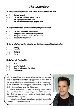"""EXCELLENT QUIZ on """"The Outsiders"""" - Chapters 8, 9 & 10"""