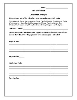 The Outsiders - Character Analysis Activity - S.E. Hinton