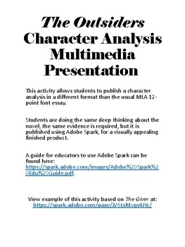 The Outsiders Character Analysis Multimedia Presentation