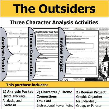 The Outsiders - Character Analysis Packet, Theme Connections, & Project