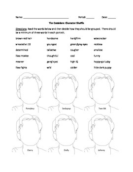 The Outsiders - Character Profile Activity