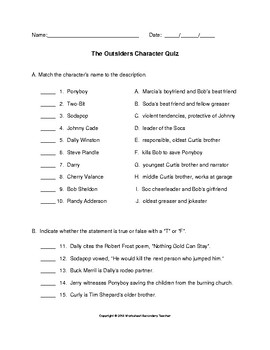 The Outsiders Character Quiz with Key