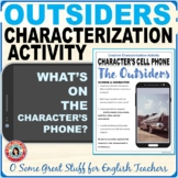 THE OUTSIDERS CHARACTERIZATION CELL PHONE ACTIVITY Fun and Creative