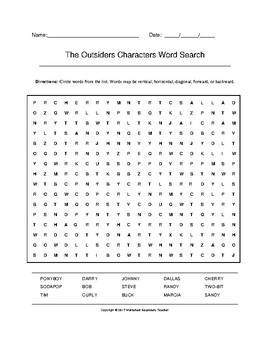 The Outsiders Characters Word Search (Grades 7-8) with Key