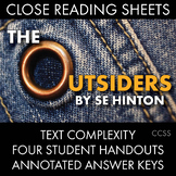 Outsiders Close Reading Materials for 4 Chapters, S.E. Hinton The Outsiders CCSS