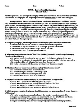The Outsiders Common Core Assessment