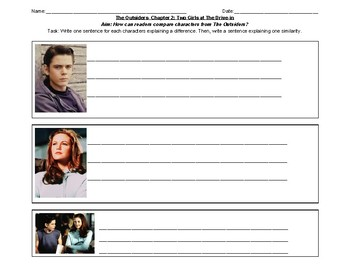 The Outsiders- Compare Characters worksheet
