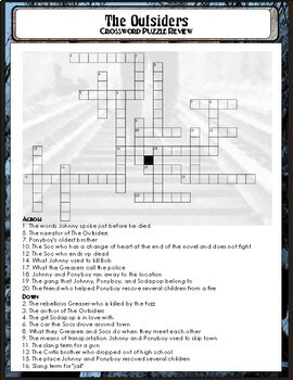 The Outsiders Study Guide: Crossword Puzzle