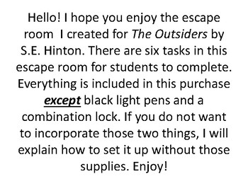 The Outsiders Escape Room