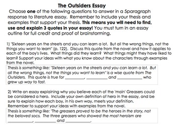 persuasive essay outsiders Argumentative essay persuasive essay expository essay comparative essay short essay browse all research paper book report: the outsiders context of the novel.