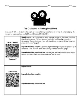 The Outsiders - Filming Location QR Code Activity - Virtual Tour of Settings