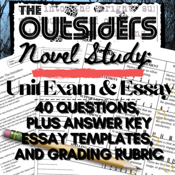 The Outsiders: 40-Question Final Unit Exam plus Essay