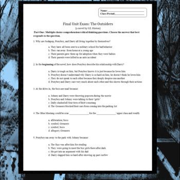 the outsiders question final unit exam plus essay by your best the outsiders 40 question final unit exam plus essay