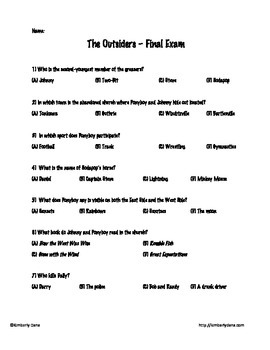 The Outsiders Final Exam Test