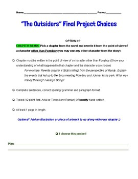 The Outsiders: Final Project Choices