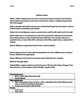 The Outsiders Final Project (Includes Rubric)