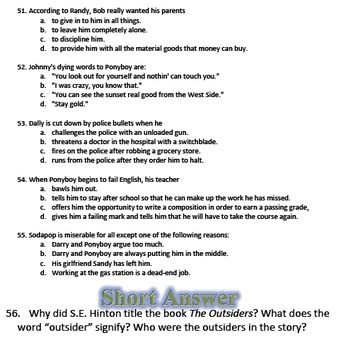 pages The Outsiders Study Guide Character List Pinterest