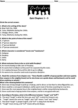 The Outsiders Quiz Chapters 1 - 3 FREE!