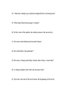 The Outsiders Full Novel Study Guide