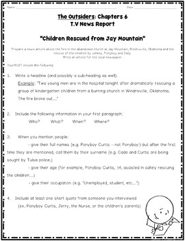The Outsiders Chapters 4, 5, and 6 Guided Reading and Writing Activities