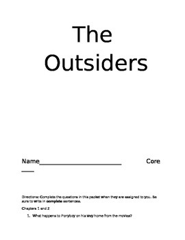 The Outsiders- Guided Reading Questions
