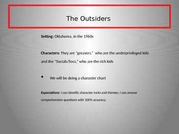 The Outsiders Introduction PowerPoint