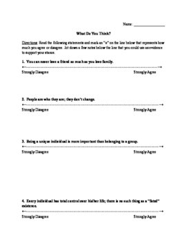 The Outsiders: Likert Scale Pre-Reading Activity