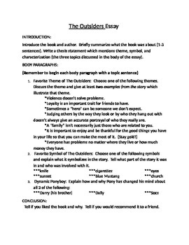 How To Write A Proposal Essay Paper The Outsiders Literary Analysis Essay English Creative Writing Essays also Thesis Statement Examples For Essays The Outsiders Literary Analysis Essay By Jill Reioux  Tpt Good English Essays Examples