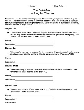 The Outsiders - Looking for Themes