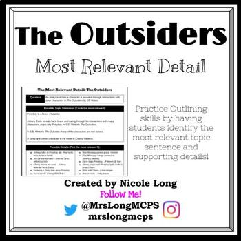 The Outsiders - Most Relevant Detail Writing and Note taking Practice