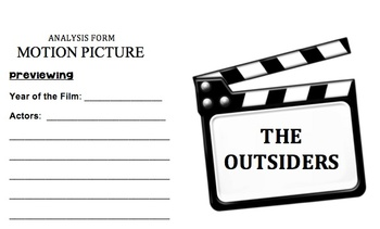 The Outsiders - Motion Picture Analysis Form - RL.7.7.