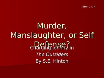 The Outsiders-- Murder, Manslaughter, or Self-Defense?