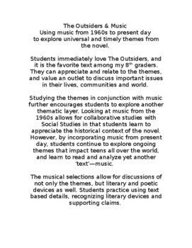 The Outsiders & Music: Using past & present music to explo