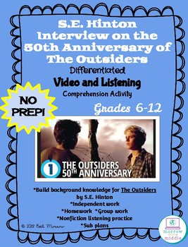 The Outsiders NO PREP Interview with S.E. Hinton Video/Comprehension Activity