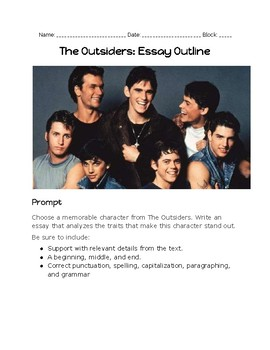 The Outsiders--Narrative Essay Outline