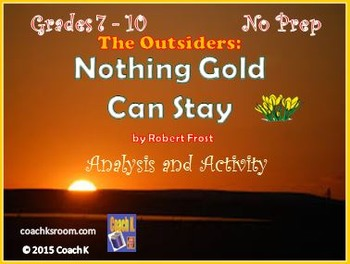 The Outsiders Nothing Gold Can by Robert Frost Stay Mini Unit