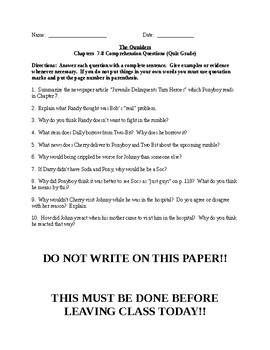 The Outsiders Novel Comprehension Questions/Quizzes