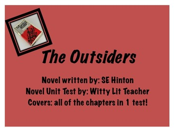 The Outsiders Novel Unit Test