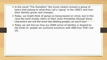 The Outsiders Personal Identity and Group Identity PPT and Activity