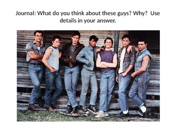 The Outsiders PowerPoint--Prereading, Background Info, and Journal Prompts